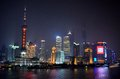 Shanghai china skyline at night from bund february a view of s central business district as seen the across the pudong river Royalty Free Stock Images