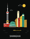 Shanghai china vector illustration on black background Stock Photos