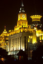 Shanghai city night view, clock tower Royalty Free Stock Photography