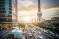 Shanghai city scape in sunset time modern enviroment panorama view of aerial point Royalty Free Stock Images