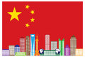 Shanghai City Skyline in China Flag Vector Illustration Royalty Free Stock Photo