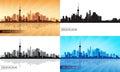 Shanghai city skyline silhouette set Royalty Free Stock Photo