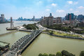 Shanghai at daytime white bridge with the bund Royalty Free Stock Image