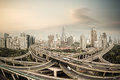 Shanghai elevated road junction panorama in at dusk china Stock Photography