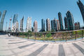 Shanghai financial center by fisheye view modern building in on platform bridge Royalty Free Stock Photo