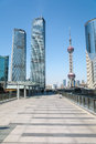 Shanghai financial center scenery with sightseeing platform bridge Stock Photos