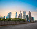 Shanghai financial center skyline at dusk with road china Stock Image