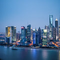 Shanghai financial district in nightfall Royalty Free Stock Photo