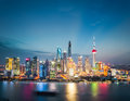 Shanghai financial district skyline in nightfall Royalty Free Stock Photo