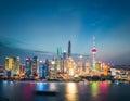 Shanghai financial district skyline in nightfall Royalty Free Stock Photo
