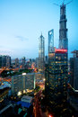 Shanghai highrise night view tall tower building at Royalty Free Stock Photos