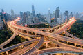 Shanghai Highway and Road Junction at Night. Royalty Free Stock Photo