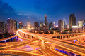 Shanghai highway traffic in nightfall interchange overpass and elevated road Royalty Free Stock Photos