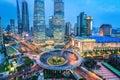 Shanghai midtown in nightfall Royalty Free Stock Photo
