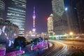 Shanghai modern city landmark background night view of traffic buildings Stock Photography