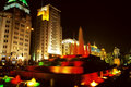 Shanghai night view with fountain Royalty Free Stock Photo