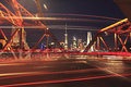 Shanghai old garden bridge car light trails and lujiazui modern architecture cityscape skyline Stock Photo