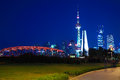 Shanghai old garden bridge of landmark architecture skyline at n and lujiazui modern cityscape night Royalty Free Stock Image