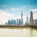 Shanghai pudong skyline in daytime with monument and suzhou river Royalty Free Stock Photography