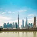 Shanghai pudong skyline in daytime with monument and suzhou river Royalty Free Stock Photo