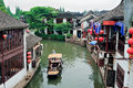 Shanghai rural village old by river in with boat Royalty Free Stock Images