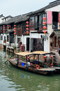 Shanghai rural village old by river in with boat Stock Photo