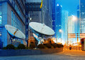 Shanghai's skyscrapers and satellite antenna. Royalty Free Stock Photo