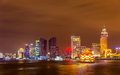 Shanghai skyline above the Huangpu River at night Royalty Free Stock Photo