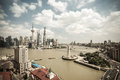 Shanghai skyline at daytime panoramic of pudong and the bund with huangpu river Stock Photography