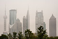 Shanghai skyline with heavy fog Royalty Free Stock Photos