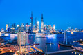 Shanghai skyline and huangpu river in nightfall beautiful china Royalty Free Stock Photo