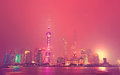 Shanghai skyline at night Royalty Free Stock Photo