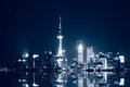 Shanghai skyline at night in city Stock Images