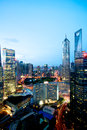Shanghai skyline at night with tall tower buildings Stock Photography