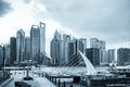 Shanghai skyline with pier Royalty Free Stock Photo