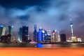 Shanghai skyline with pier at night Royalty Free Stock Photo