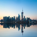 Shanghai skyline in sunrise with reflection china Stock Photo