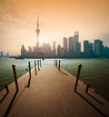 Shanghai skyline at sunrise wharf Royalty Free Stock Photo
