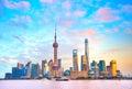 Shanghai skyline at sunset. China Royalty Free Stock Photo