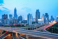 Shanghai skyline with traffic at dusk beautiful highway Royalty Free Stock Image