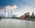 Shanghai skyline und schönes suzhou river Lizenzfreie Stockbilder