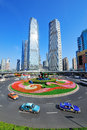 Shanghai street view with skyscrapers roundabout and blue sky Stock Photo
