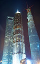 Shanghai tall towers at night tower building beautiful view Royalty Free Stock Image