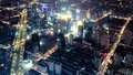 Shanghai trafic at night with a bird s eye view Royalty Free Stock Images