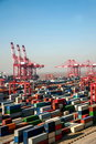 Shanghai Yangshan Deepwater Port Economic FTA container terminal crane lifting towers Royalty Free Stock Photo