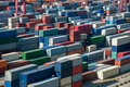 Shanghai Yangshan Deepwater Port Economic FTA container terminal stacking containers Royalty Free Stock Photo