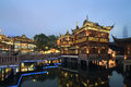 Shanghai yuyuan night view of garden huxin pavilion Stock Image