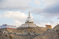 Shanti Stupa,Leh Ladakh.Light and shade from sunset.Blur on fore