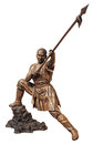 Shaolin warriors monk bronze statue in chinese temple viharn sien chonburi thailand isolated on white with clipping path Stock Image