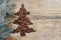 Shape of christmas tree made of coffee beans Stock Images